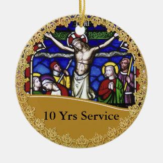 Anniversaire de classification de prêtre 10ème ornement rond en céramique
