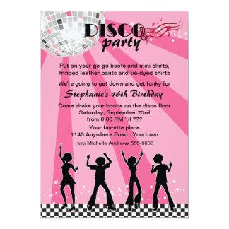 Anniversaire de danseurs de disco carton d'invitation  12,7 cm x 17,78 cm