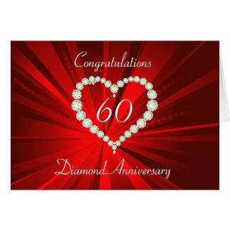Anniversaire de diamant de coeur d'amour cartes de vœux