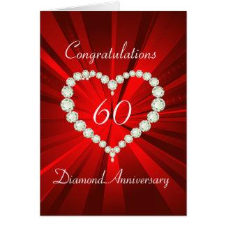 Anniversaire de diamant soixantième de coeur carte de vœux