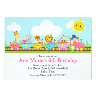 Anniversaire de enfant animal de train de cirque carton d'invitation  12,7 cm x 17,78 cm
