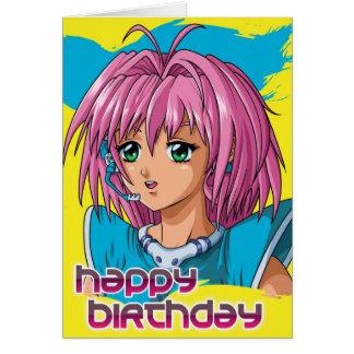 Anniversaire de fille d'Anime Carte De Vœux