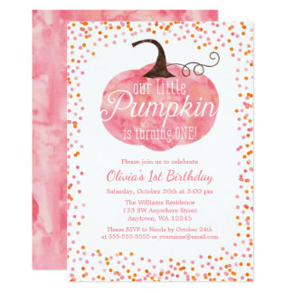 Anniversaire de fille de confettis de citrouille carton d'invitation  12,7 cm x 17,78 cm