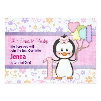 Anniversaire de fille de Cutie- de pingouin Carton D'invitation 12,7 Cm X 17,78 Cm