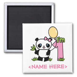 Anniversaire de fille de panda premier aimant