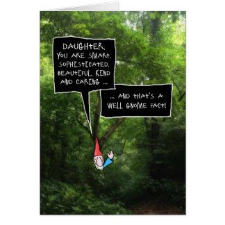 Anniversaire de fille, gnome humoristique dans la cartes de vœux