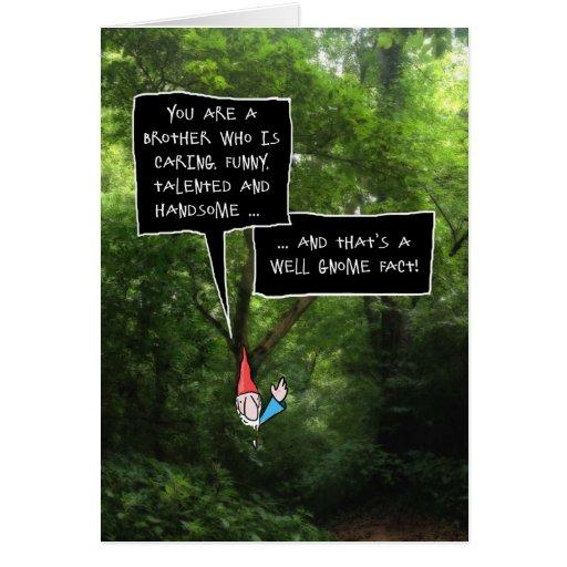 Anniversaire de frère, gnome humoristique dans la carte
