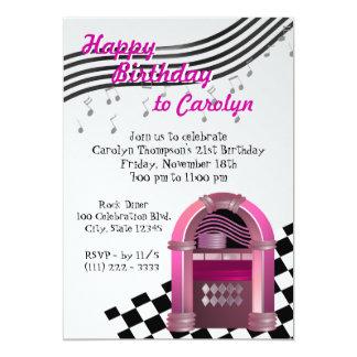 Anniversaire de juke-box de roche carton d'invitation  12,7 cm x 17,78 cm