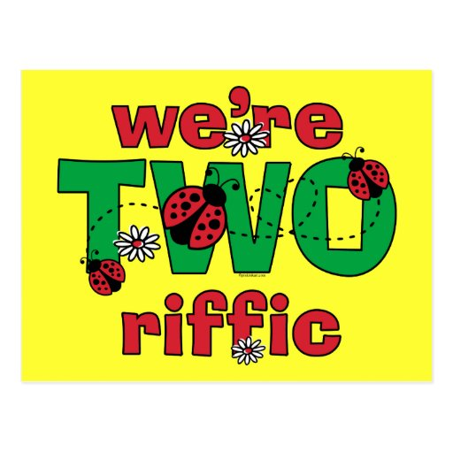 Anniversaire de jumeaux de coccinelle de TWOriffic Cartes Postales