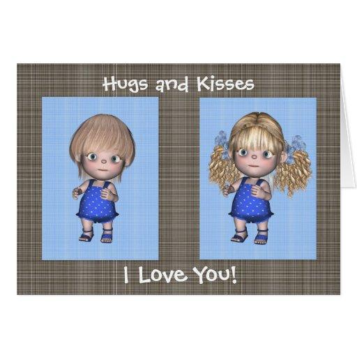 Anniversaire de jumeaux d'étreintes et de baisers  cartes de vœux