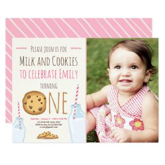 Anniversaire de lait et de fille d'invitation de carton d'invitation  12,7 cm x 17,78 cm