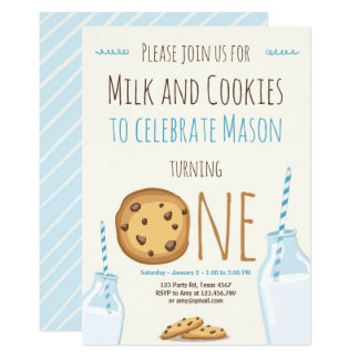 Anniversaire de lait et de garçon d'invitation de carton d'invitation  12,7 cm x 17,78 cm