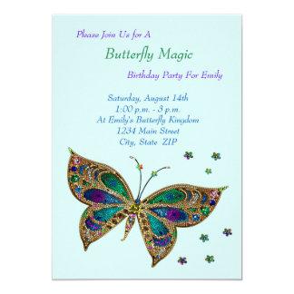 Anniversaire de magie de papillon carton d'invitation  12,7 cm x 17,78 cm