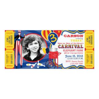 Anniversaire de marcheur d'échasse de cirque de carton d'invitation  10,16 cm x 23,49 cm
