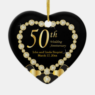 Anniversaire de mariage cinquante ornement cœur en céramique
