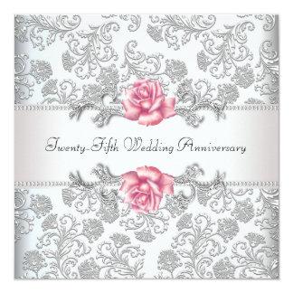 Anniversaire de mariage d'argent de damassé de carton d'invitation  13,33 cm