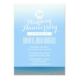 Anniversaire de mariage de brise de plage de ciel carton d'invitation  12,7 cm x 17,78 cm