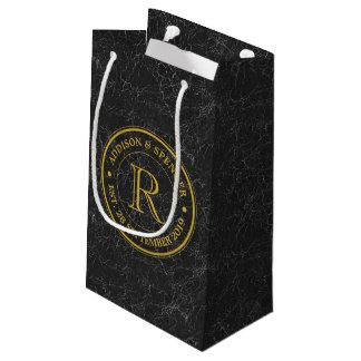 Anniversaire de mariage de cuir de noir de petit sac cadeau