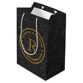 Anniversaire de mariage de cuir de noir de sac cadeau moyen