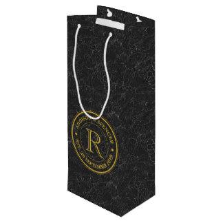Anniversaire de mariage de cuir de noir de sac cadeau pour bouteille