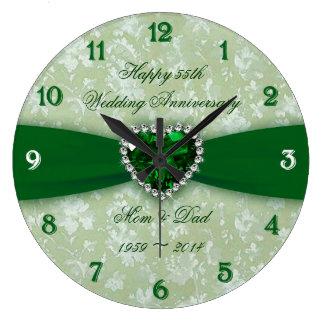 Anniversaire de mariage de damassé grande horloge ronde