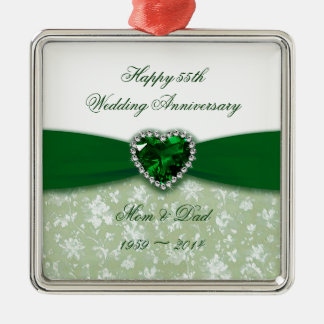 Anniversaire de mariage de damassé ornement carré argenté