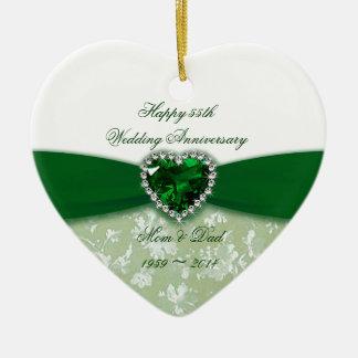 Anniversaire de mariage de damassé ornement cœur en céramique