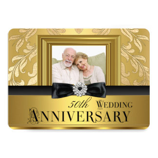 Anniversaire de mariage de photo cinquantième carton d'invitation  12,7 cm x 17,78 cm