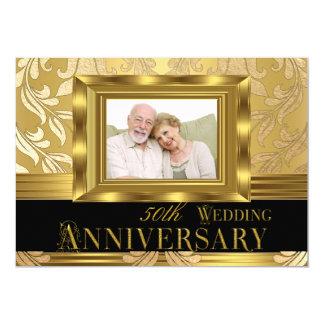 Anniversaire de mariage de photo cinquantième de carton d'invitation  12,7 cm x 17,78 cm
