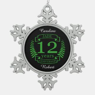 Anniversaire de mariage de pierre gemme de jade 12 ornement flocon de neige pewter