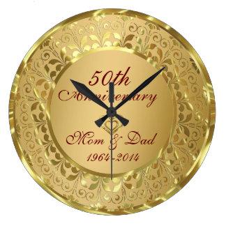 Anniversaire de mariage de scintillement d'or grande horloge ronde
