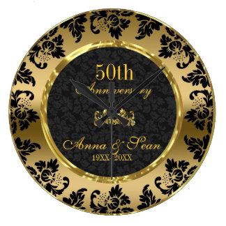 Anniversaire de mariage élégant de noir et d'or grande horloge ronde