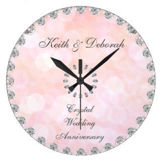 Anniversaire de mariage en cristal personnalisable grande horloge ronde