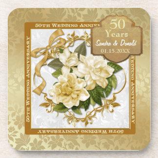 Anniversaire de mariage floral d'or cinquantième sous-bocks