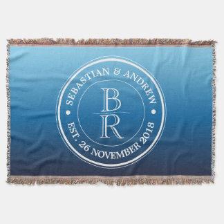 Anniversaire de mariage gai bleu d'Ombre de logo Couverture