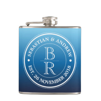 Anniversaire de mariage gai bleu d'Ombre de logo Flasques