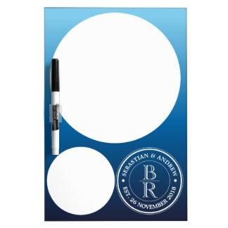 Anniversaire de mariage gai bleu d'Ombre de logo Tableau Blanc Effaçable À Sec