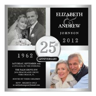 Anniversaire de mariage - puis et maintenant carton d'invitation  13,33 cm