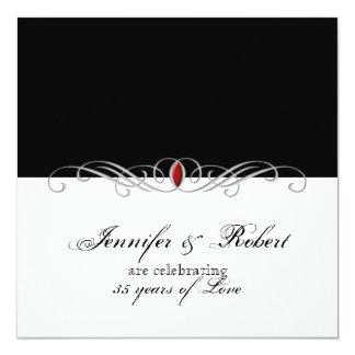 Anniversaire de mariage rouge noir et blanc faire-parts