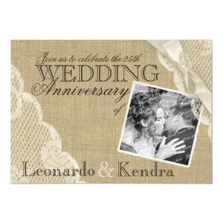 Anniversaire de mariage vintage de dentelle carton d'invitation  12,7 cm x 17,78 cm