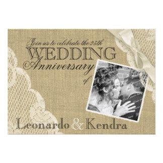Anniversaire de mariage vintage de dentelle invitation