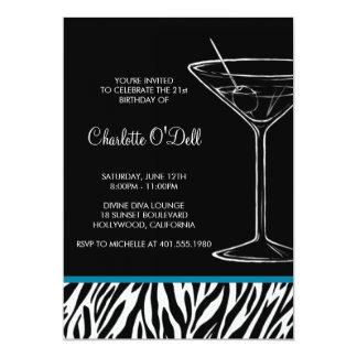 anniversaire de martini d'impression de zèbre carton d'invitation  12,7 cm x 17,78 cm