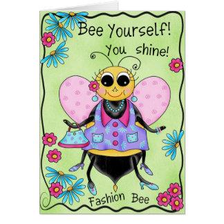 Anniversaire de miel d'abeille de mode joyeux carte de vœux
