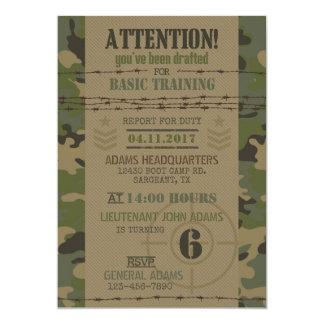 Anniversaire de militaires de camouflage de jungle carton d'invitation  12,7 cm x 17,78 cm
