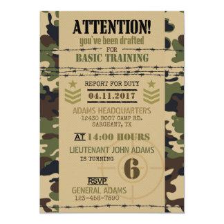 Anniversaire de militaires de camouflage de région carton d'invitation  12,7 cm x 17,78 cm