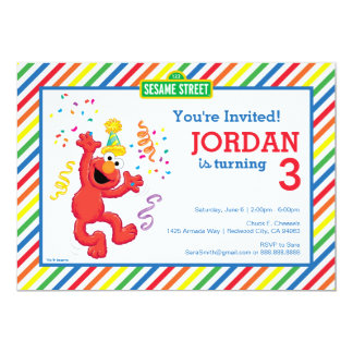 Anniversaire de neutre d'Elmo Carton D'invitation 12,7 Cm X 17,78 Cm