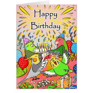Anniversaire de parrotlet de cockatiel de perruche carte de vœux