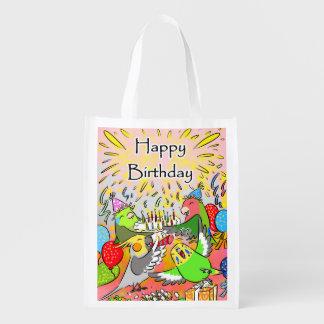 Anniversaire de parrotlet de cockatiel de perruche sacs d'épicerie réutilisables
