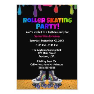 Anniversaire de patinage de rouleau d'égouttement carton d'invitation  12,7 cm x 17,78 cm