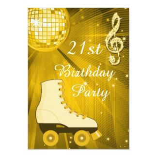 Anniversaire de patins de boule et de rouleau de carton d'invitation  12,7 cm x 17,78 cm